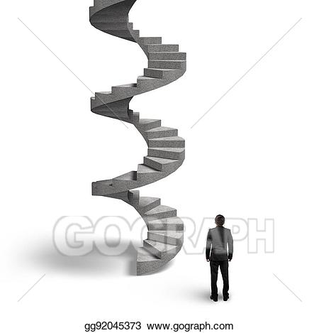 Staircase clipart winding staircase. Stock illustrations concrete spiral
