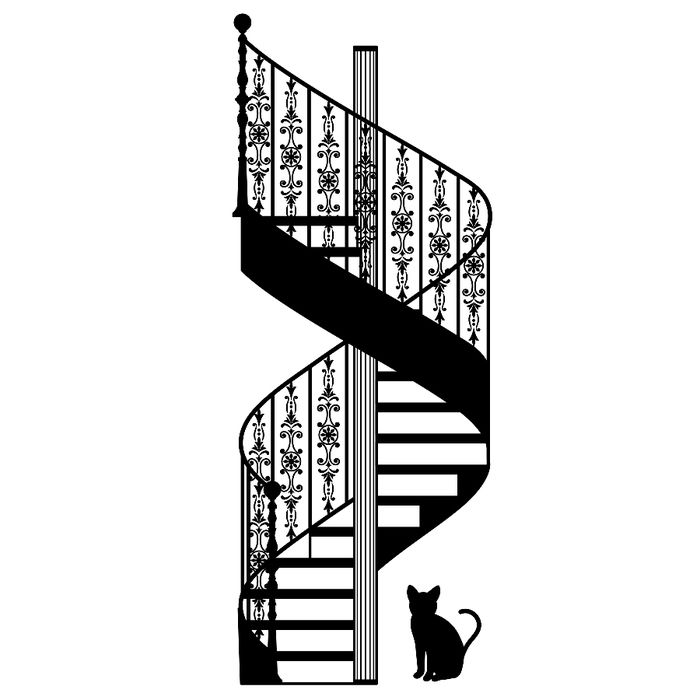 Staircase clipart winding staircase. Cool spiral silhouette and