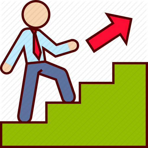 Staircase clipart work promotion.  business man v