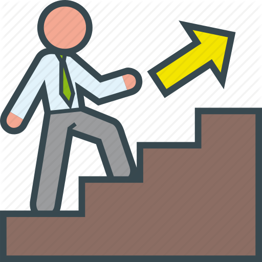 Staircase clipart work promotion.  business man line