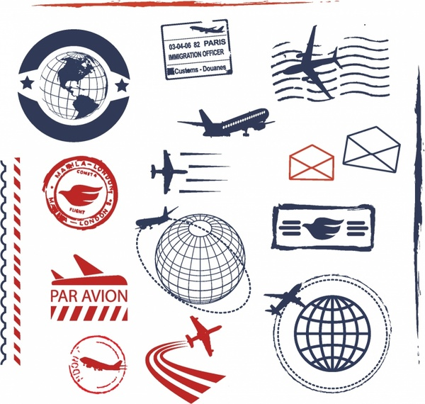 Stamp clipart airmail. Air mail ruber stamps