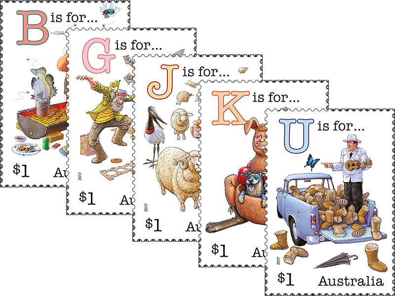 Set of five aussie. Stamp clipart alphabet