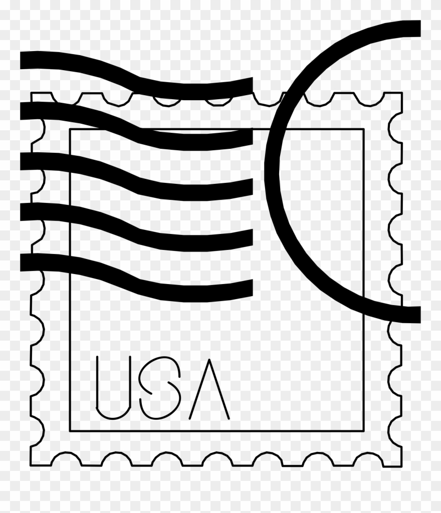 Stamp clipart black and white. Big image usa png