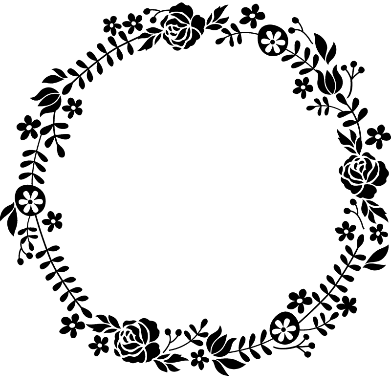 Flowering wreath rubber circular. Stamp clipart border