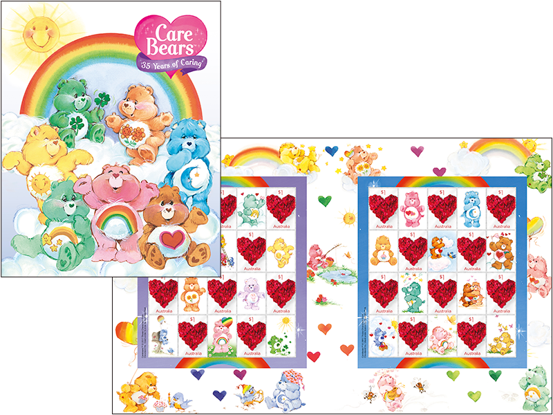 Stamp clipart collector. Care bears pack australia