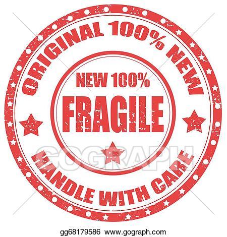 Clip art vector stock. Stamp clipart fragile