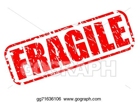 Stamp clipart fragile. Vector art red text