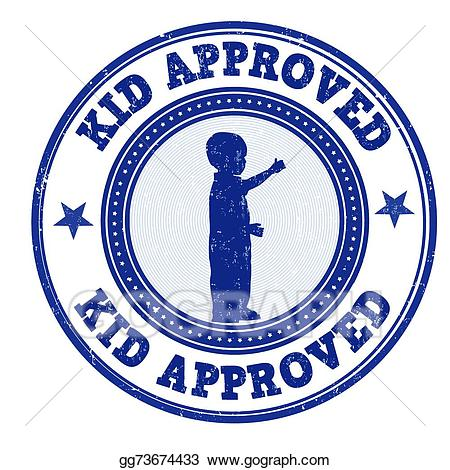 Vector approved illustration . Stamp clipart kid