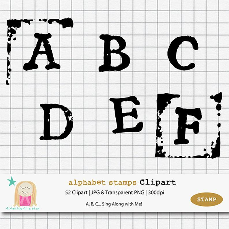 Stamp clipart letter stamp. Alphabet letters hipster handmade