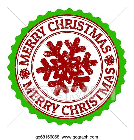 Stamp clipart merry christmas. Vector stock illustration