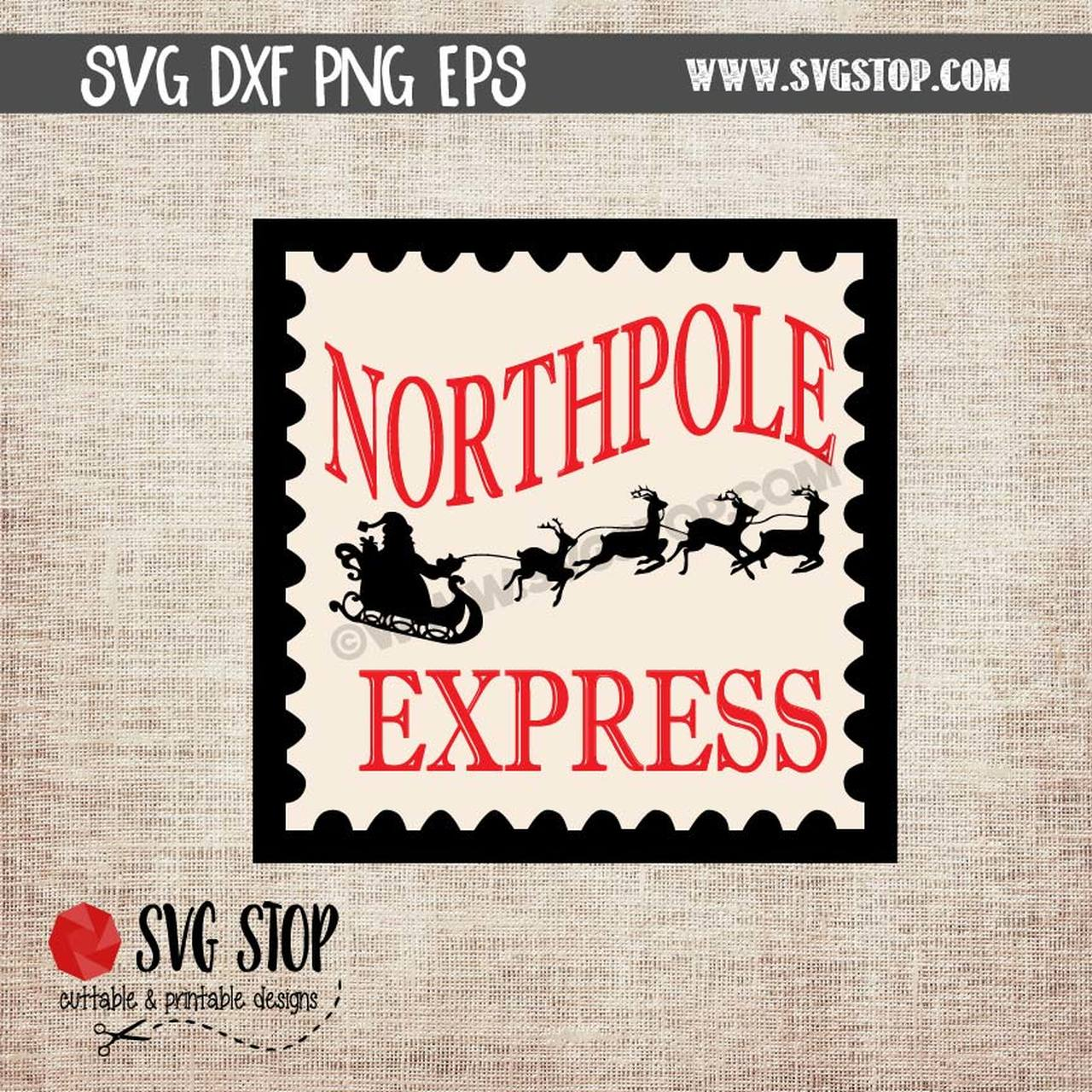 Stamp clipart north pole. Northpole express postage svg