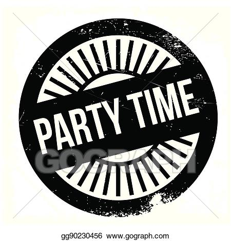 Stamp clipart party. Vector stock time illustration