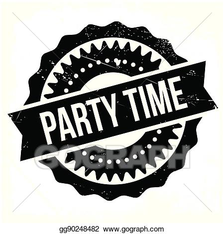 Vector stock time illustration. Stamp clipart party