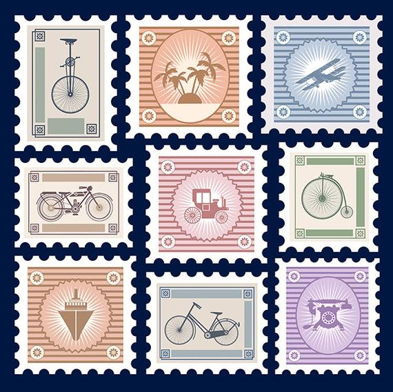 Retro postage stamps old. Stamp clipart post stamp