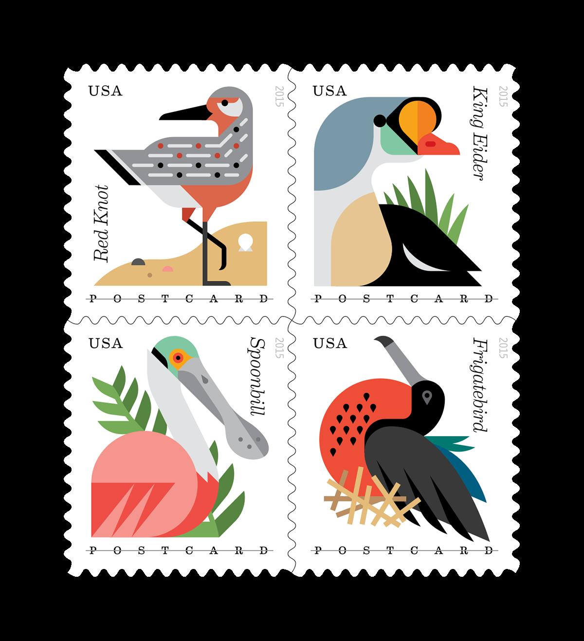 Stamp clipart postage stamp. Usps stamps coastal birds