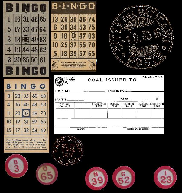 free vintage bingo. Stamp clipart printable