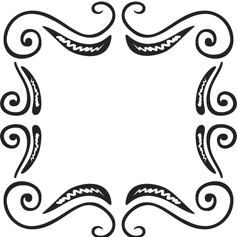 Ornate rubber border rectangular. Stamp clipart square