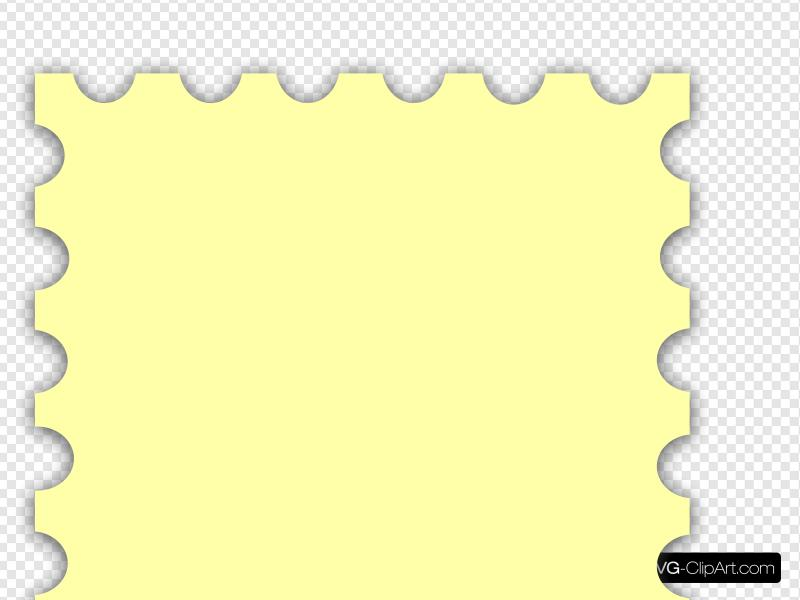 Yellow blank postage clip. Stamp clipart svg
