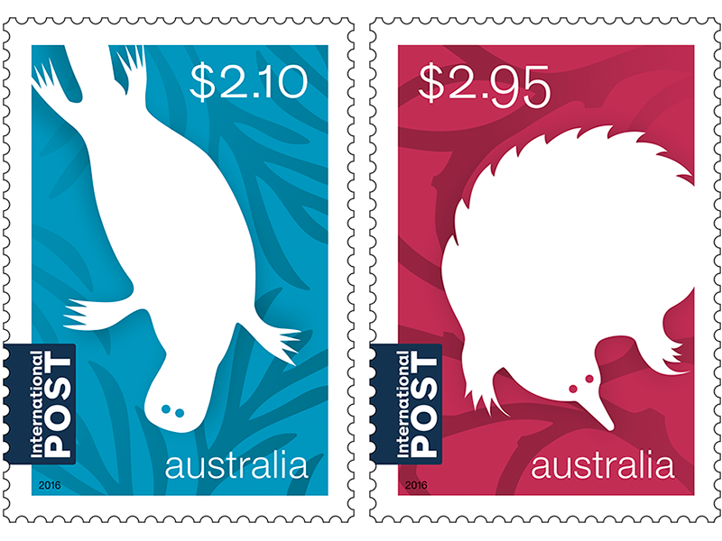 Stamp clipart us stamp. Set of australian animals