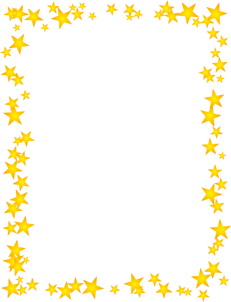 Gold stars scattered free. Star clip art border