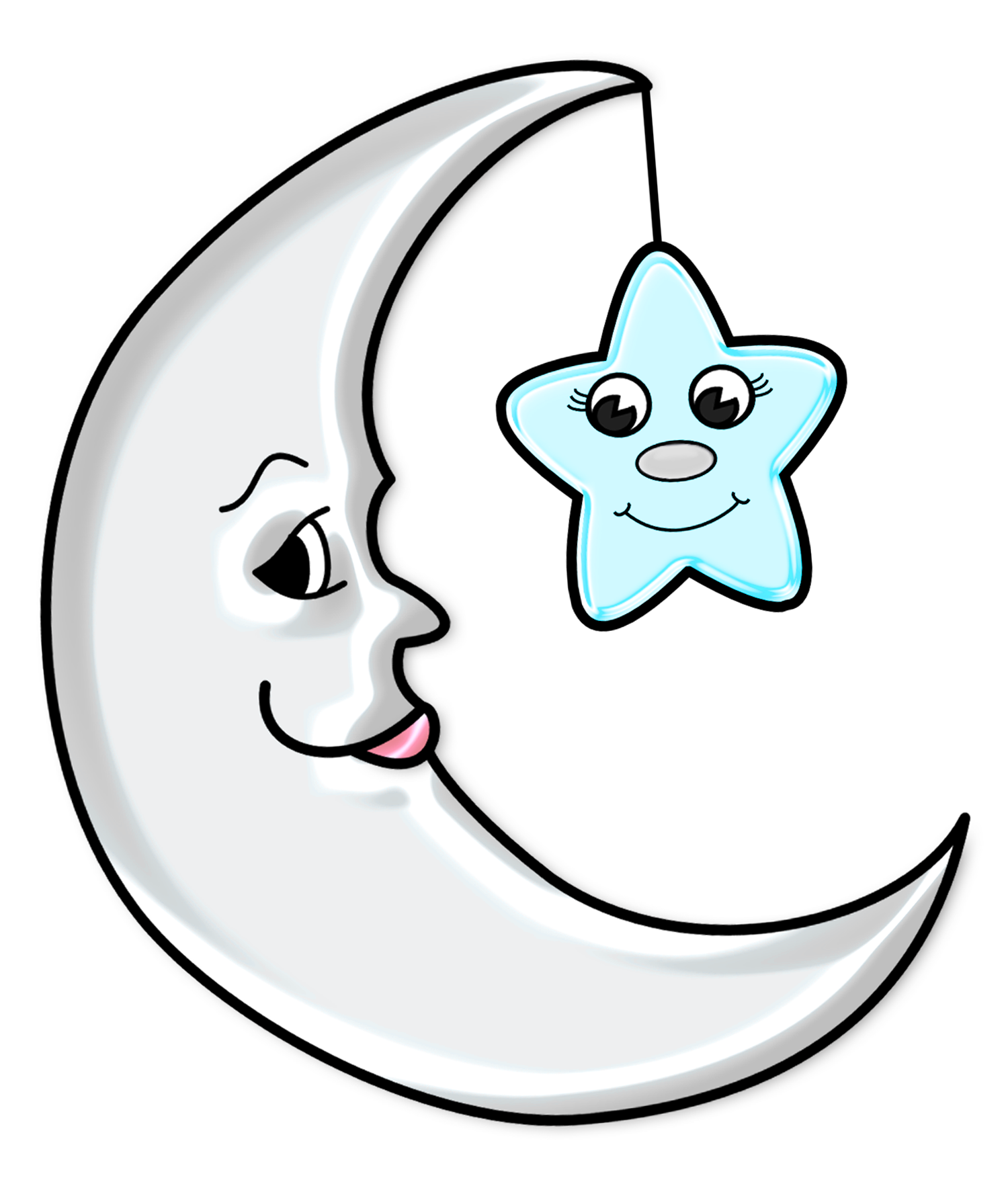 Moon with transparent png. Star clip art cute