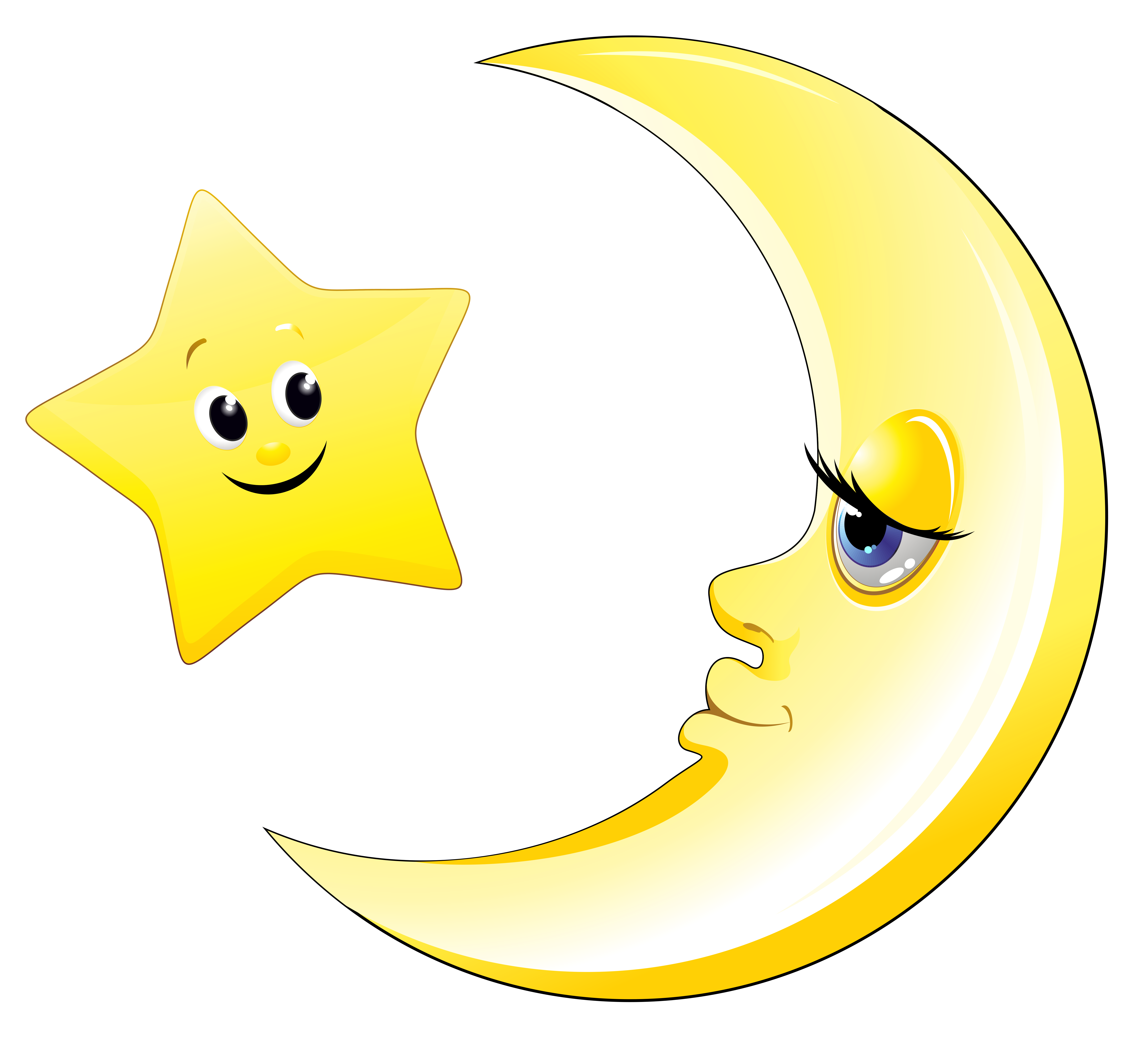 Transparent cute and star. Clipart moon yellow