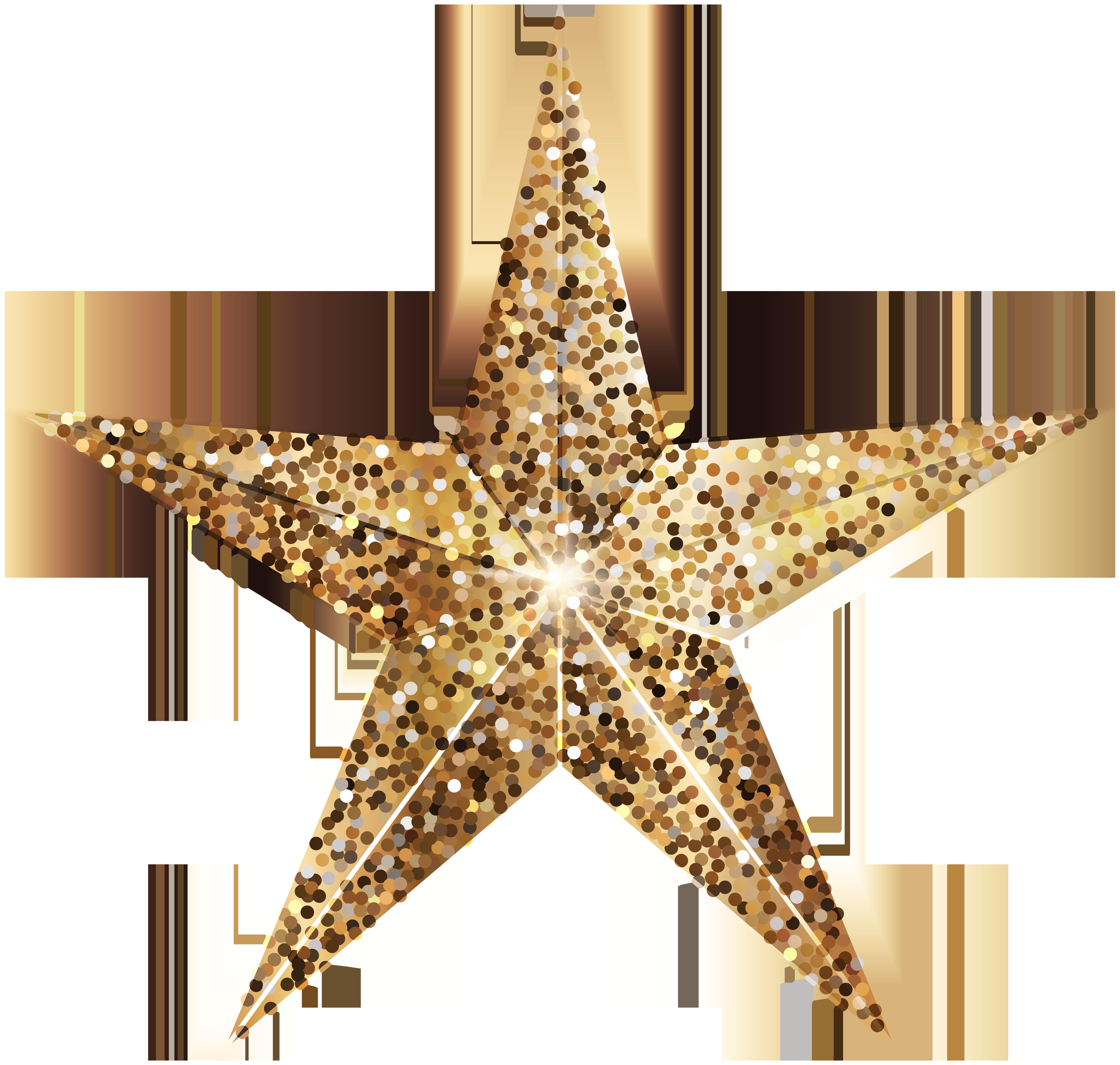 Golden deco png clip. Glitter clipart glitter star