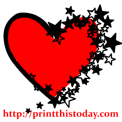 A red with sparkling. Star clip art heart
