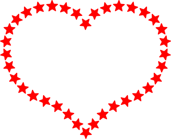 Red outlined at clker. Star clip art heart