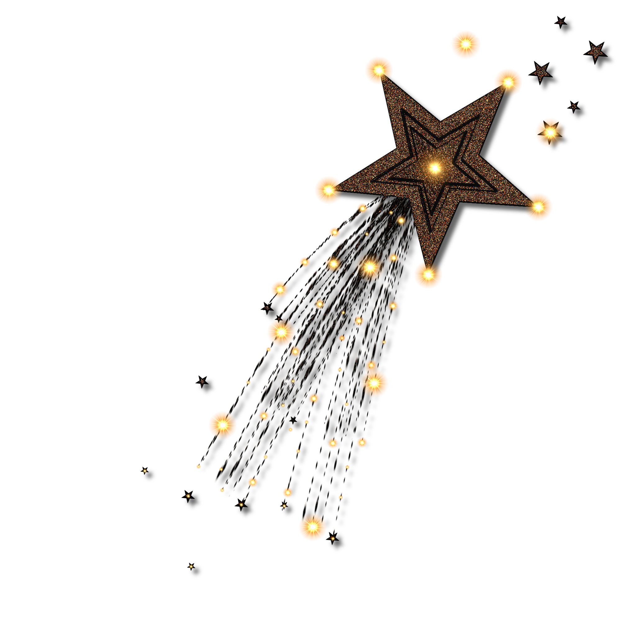 Shooting stars on transparent. Confetti clipart gold star