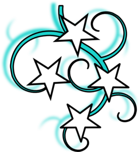 Teal and white tattoo. Star clip art swirl