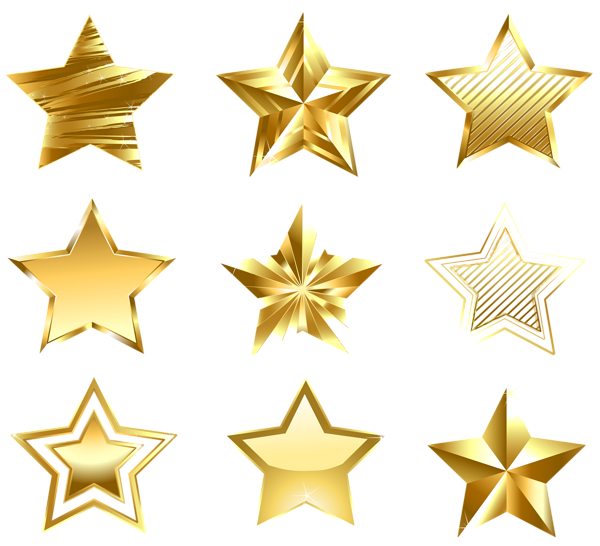Star clip art transparent background. Golden stars set png