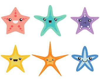 Cute fish etsy digital. Starfish clipart