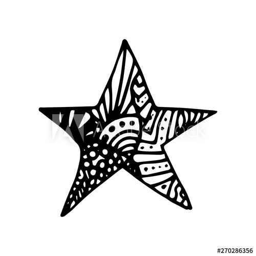 Starfish clipart ornate. Hand drawn star doodle