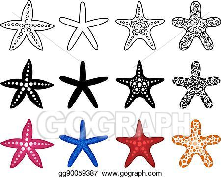Eps illustration icon set. Starfish clipart ornate