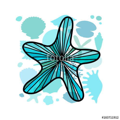 Starfish clipart ornate. Marine background for your