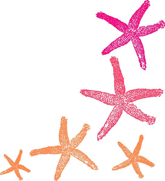 White clipart starfish. Orange pink clip art