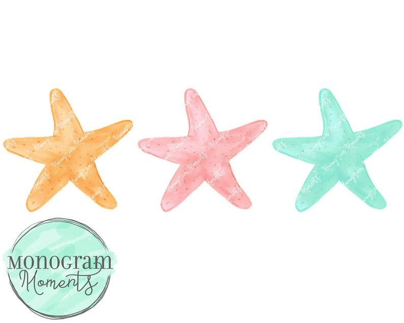 Starfish clipart watercolor. Beach png for digital