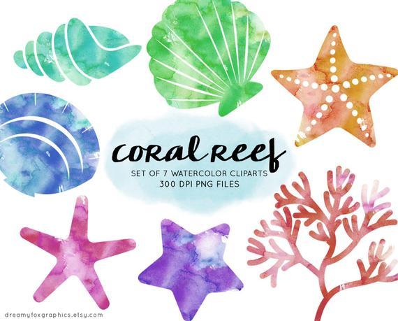 Sea life set coral. Starfish clipart watercolor