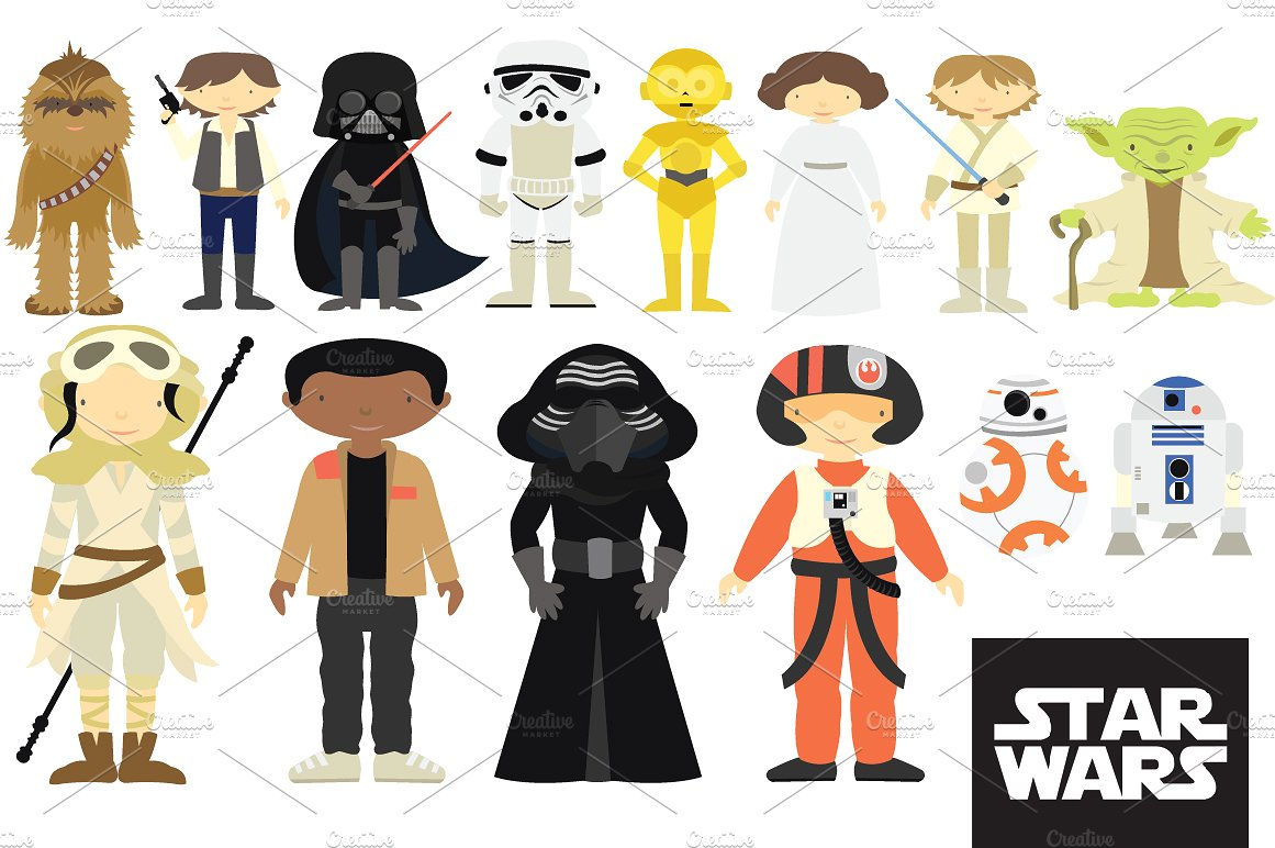 Starwars clipart. Star wars characters set