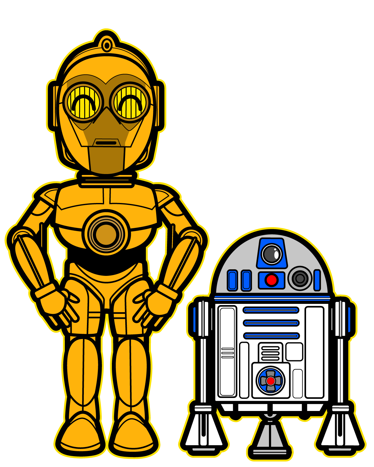 Starwars clipart c3p0. R d and c
