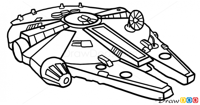 Drawn silhouette . Starwars clipart millennium falcon