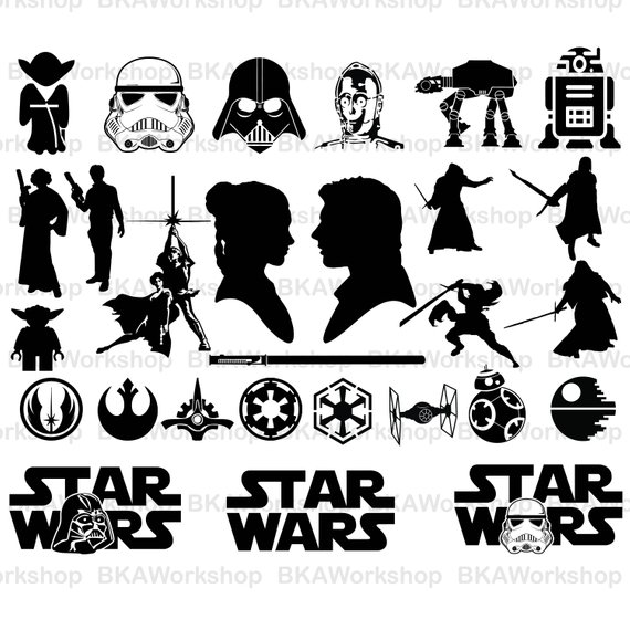 Star war svg vector. Starwars clipart silhouette