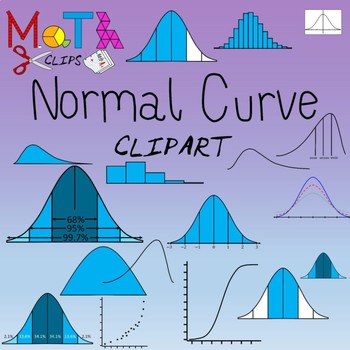 Normal distribution by math. Statistics clipart