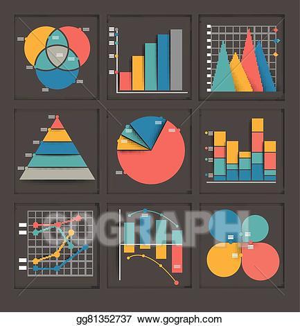 Statistics clipart performance graph. Vector art set of