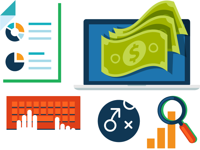 Adwords pay per click. Statistics clipart ppc