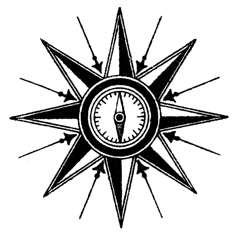 Steampunk clipart. Vintage clip art compass
