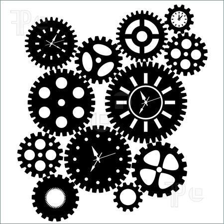 Steampunk clipart. Gears diy clock cogs