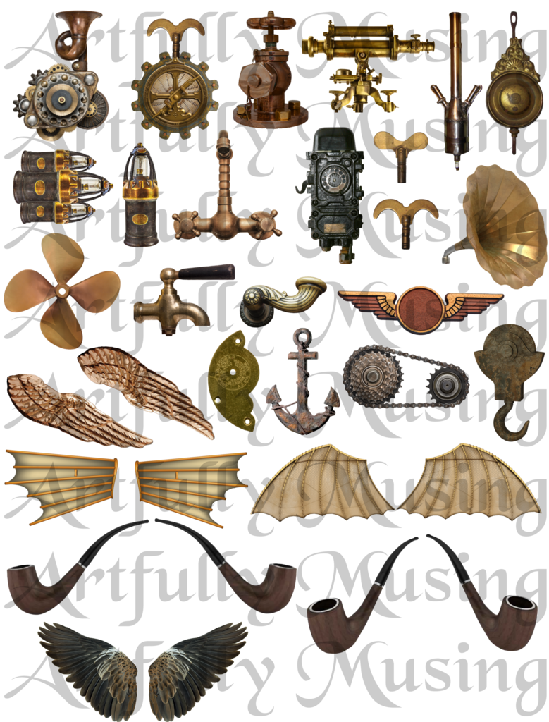 Artfully musing hot air. Steampunk clipart airline wing