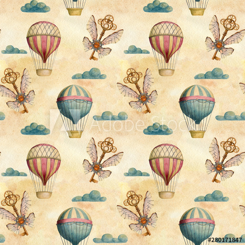 Vintage seamless pattern with. Steampunk clipart airline wing